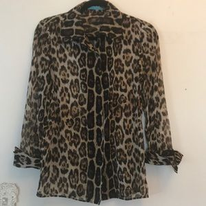 Alice + Olivia leopard sheer blouse